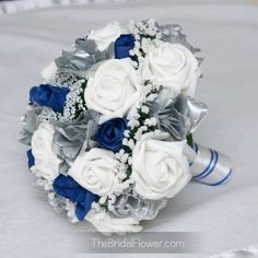 Royal blue and silver silk wedding bouquet, horizon blue bridal ...