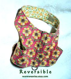 Dachshund or small dog harness vest reversible and adjustable. Secure and comfortable in cotton.