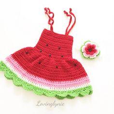 Watermelon dress (little girl) summer dress for boy rega .- Watermelon dress (big girl) summer dress for child gift for children photo prop Baby Summer Dresses, Crochet Summer Dresses, Baby Girl Crochet, Crochet Baby Clothes, Summer Baby, Crochet For Kids, Baby Dress, Dress Girl, Vestidos Bebe Crochet