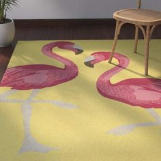 Beachcrest Home Brianna Handmade Yellow Indoor/Outdoor Area Rug. For the love of #flamingos #outdoordecor #arearugs #afflnk