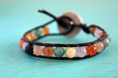 """""""Tutti Frutti"""" boho leather wrap bracelet by Ever Designs. Cool worn alone or layered with other bracelets."""