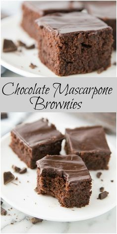 A rich and creamy recipe for Chocolate Mascarpone Brownies. Definitely one of the favorite all time brownie recipes ever. Decadent Brownie Recipe, Brownie Recipes, Cake Recipes, Dessert Recipes, Gourmet Desserts, Gourmet Foods, Fudge, Mascarpone Recipes, Mascarpone Dessert Recipe