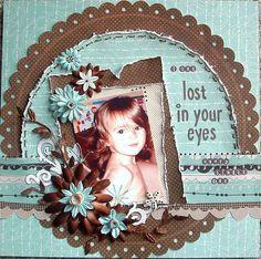 Layout: Lost in Your Eyes *My Creative Scrapbook*. By Tara Orr Baby Girl Scrapbook, Kids Scrapbook, Scrapbook Designs, Scrapbook Paper Crafts, Circle Scrapbook, Album Scrapbook, Wedding Scrapbook, Scrapbook Sketches, Scrapbook Page Layouts