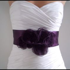 "Bridal Sash Belt AUBERGINE - Dark Eggplant Purple This stunning statement sash is a 3"" wide super soft satin sash, measuring 3 yards (9 feet) long.  A cluster of matching dark purple flowers made of hand-singed chiffon, each with a purple crystal in the center. Message me about customizations.  - Handmade by Bridal Shoppe Bridalshoppe Accessories"