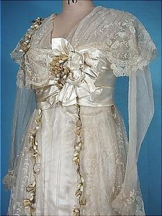c. early 1910's DEBENHAM & FREEBODY, London Museum Quality Ecru Satin Trained Wedding Gown with Lace, Wax Orange Blossoms and Original Veil