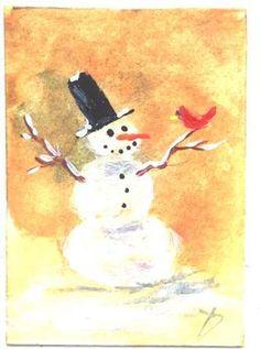 Snowman and Cardinal mini acrylic painting by Jim Smeltz