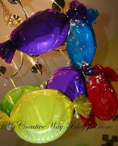 My Creative Way: Candyland Party. Paper plates covered by colored tissue paper or Saran Wrap