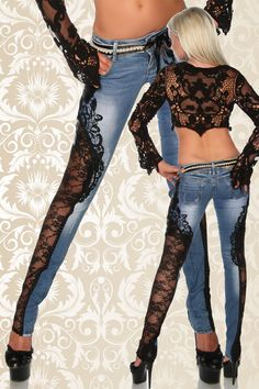 Jeanshose mit Spitze | Jeans | Hosen & Pants & Leggings | BEKLEIDUNG | FRAUEN | 701 FASHION