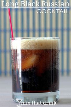 Long Black Russian cocktail drink recipe with Kahlua, vodka and cola. Drink recipe for the Long Black Russian, which adds one simple ingredient to the traditional Black Russian cocktail. Delicious and refreshing. Kahlua Drinks, Vodka Drinks, Non Alcoholic Drinks, Party Drinks, Fun Drinks, Yummy Drinks, Alcholic Drinks, Liquor Drinks, Drinks Alcohol