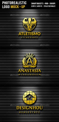 3D Gold Logo Mock Up by BossTwinsArt Package Layered Psd files with Photorealistic Look. Easy to Use (Smart Objects).2200×1400, 300 DPI, High Resolution.Help File Incl