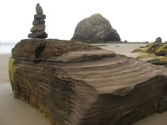 Stacked Rocks - These pictures were taken about two miles south of Haystack Rock in Cannon Beach, Oregon, one of the most photographed natural features in the state.