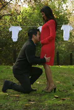 clothesline...not the kissing belly - Pregnancy Announcement