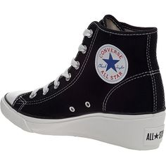 CONVERSE WOMENS Chuck Taylor Wedge Sneaker Black Canvas ($65)  liked on Polyvore