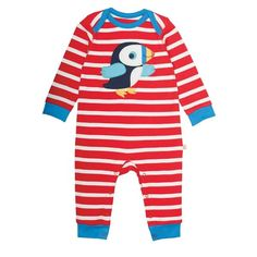 Buy Frugi Organic Baby Stripe Puffin Sleepsuit, Red/Multi from our Baby & Toddler Sleepsuits range at John Lewis & Partners. Organic Baby Clothes, Baby & Toddler Clothing, Toddler Outfits, Babies Clothes, Baby Skin, Red And White Stripes, Stripe Print, Clothes For Sale, Baby Blue
