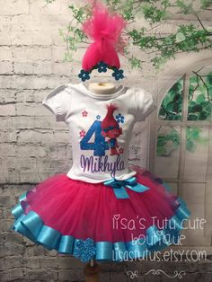 Trolls Birthday Party, Troll Party, Birthday Party Outfits, Birthday Tutu, 4th Birthday Parties, Birthday Shirts, Birthday Celebration, 3rd Birthday, Birthday Ideas