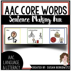 """This is a fun way for students who use aac or have limited language skills to practice making symbol sentences without the pressure of needing to """"get it right."""" There are no specific questions, no specific referenced stimuli. The only requirement is to get the correct type of word, and get it in the correct order."""