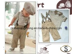 China Newest 2013 Summer Baby Boy Retro Handsome Clothing Set (striped t-shirt+suspender pants) Kid Garment - large image for Baby Boy Retro...