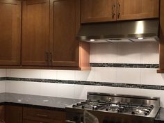 Evidently, black and silver is not a popular backsplash option. Both of my choices were discontinued. At least the store was able to find enough of this one to do the job.