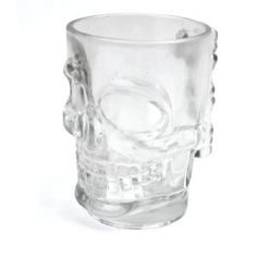"""This skull stein may fill your head with creepy thoughts. Molded Glass Human Skull Shaped Stein measures 5"""" tall x 4.75"""" wide at handle x 3.75"""" outside diameter. Great for the skull fanatic or just th"""