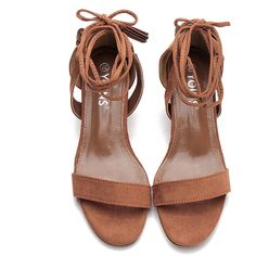 Yoins Brown Single Strap Front Block Heel Lace-up Tassel Sandals ($31) ❤ liked on Polyvore featuring shoes, sandals, yoins, brown shoes, lace up shoes, one strap sandals, block-heel shoes and low block heel sandals
