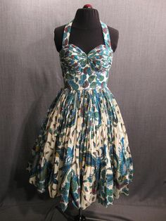 Dress 1950s Halter Blue Green Peacock Paisley Print Cotton