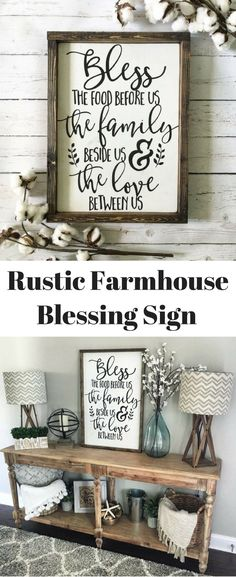 Bless the Food Before Us Wood Sign, Rustic Wood Sign, Framed Sign, Kitchen Sign, Dining Room Sign, Farmhouse Decor, Kitchen Decor #ad #farmhouse #farmhousestyle #farmhousedecor #rustic #rusticdecor #rusticfarmhouse #prayers #blessings #diningroom #decor #homedecor #homedecorideas
