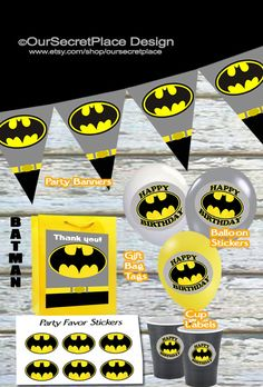 Printable Batman Party Banner, Balloon Stickers, Cup Labels, Gift Bag Tags, Party Favors, Plate Labels, by OurSecretPlace, $3.99