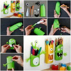 Reciclando e organizando Idéia muito bacana prá reciclar as embalagens de xampu. Organizadores de monstrinhos para os lápis da garotada.