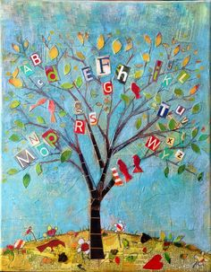 pourquoi un arbre d'automne avec les lettres du prénom des enfants Painting For Kids, Art For Kids, Jewish Crafts, Ecole Art, Alphabet Art, Preschool Art, Tree Art, Tree Collage, Mix Media