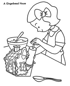 Making Gingerbread House Coloring Page