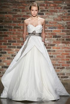 "Hayley Paige - Spring 2014. Blush style 1401, ""Venice"" white strapless natural waist brocade ball gown wedding dress with ruched sweetheart bodice, tulle peek-a-boo skirt, grey grosgrain sash, chapel train, Hayley Paige"