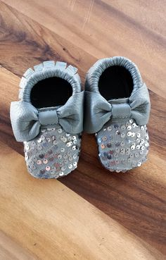Leather/sequin baby moccasins $30