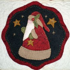 Wool Felt Christmas Patterns | Christmas Candle Mat Penny Rug Patterns to Choose from for Wool Felt ...