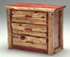 Red Cedar Log Chest of Drawers - 3 Drawer - Item # COD05421 - 4 or 5 Drawer Available