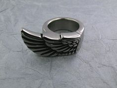 Wing ring-Biker Ring-Heavy Metal Ring-Mens ring-Biker Ring-Biker Jewelry-Steel Ring