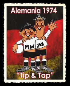 En la edición de Alemania 1974, de la Copa Mundial de Futbol, se presentó a dos pequeños hermanos: Tip y Tap. Uno de ellos es alto y de cabello rubio. El otro más bajo y de cabello oscuro. Vestidos con los colores de la selección alemana, en la casaca del segundo aparece la abreviatura WM: Weltmeisterschaft (en alemán: Copa del Mundo) y en la playera de su hermano el número 74, que corresponde al año de esta edición. World Cup Logo, Manchester United Football, Logo Nasa, Football Players, Soccer, The Unit, History, News, Cute Mugs