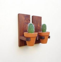 wall hanging planters set clay pots for succulents wall mounted flower holders terracotta indoor planter pot wall planter outdoor set Rustic wall hanging planters set cla. Wooden Planters, Indoor Planters, Hanging Planters, Planter Pots, House Plants Decor, Plant Decor, Garden Shelves, Pot Plante, Succulent Wall