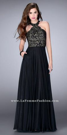 Dance the night away wearing the Lace Racer Back Halter Prom Dress by La Femme. The classic details include a halter neckline, fitted lace bodice, chiffon A-line skirt with pockets, and a t-strap open back. #edressme