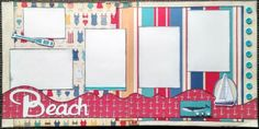 a 12x12 double page scrapbook layout kit for the beach
