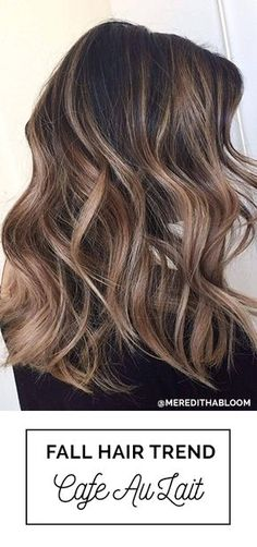 Cafe Au Lait! Perfect Fall Hair Color For Brunettes with Balayage with Soft Highlights   Cafe Au Lait Fall Hair Color Trend For Brunettes by Meredith Johnson, Abloom Salon with Oway Hcolor #Balayage #FallHairColor