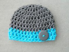 Handmade Crochet Gray and Teal Newborn boy hat by LittleBirdBands
