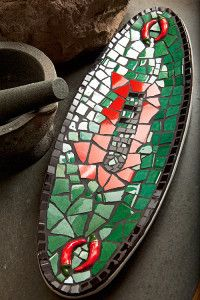 Creative Company | Just Mosaics: Chilli platter Creative Company, Mosaic Crafts, Platter, Mosaics, Craft Projects, Kitchen, Baking Center, Cooking, Kitchens