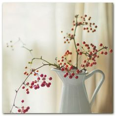 I love the simplicity of this red and white vase and berries