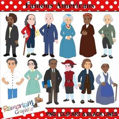 50% off till 26.7.15! Famous Americans History Clip art set, commercial use ok. Each image is PNG and 300dpi in Black & White, colored with colored outlines and colored with black outlines