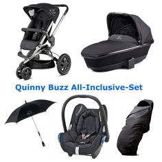 Quinny Buzz 3 All-Inclusive-Set mit Dreami, Cabriofix, Fußsack & Sonnenschirm, Farbe: Rocking Black | online kaufen bei kids-comfort.de #Kinderwagen #Babywanne #buzz #dreami #stroller #pushchair #footmuff #parasol #Babyschale