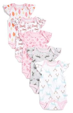 Rosie Pope Graphic Cotton Bodysuits (Set of 5) (Baby Girls) available at #Nordstrom