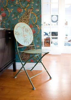 Image above: A chair found at Home Sense that perfectly matched our wallpaper. We initially bought the chair to use as a garden chair, but when we brought it home, we noticed it looked perfect beside the wallpaper. It's like they were meant to be together.
