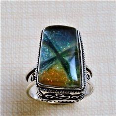 SIZE 11.75 NEW Chunky Cocktail Lady DICHROIC GLAS STERLIN SILVER VINTAG RING R26 #SolitaireCocktailStatement