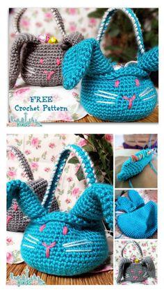 Crochet Amigurumi Easter Bunny Basket Free Pattern