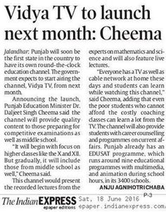 Vidya TV to launch next month : Punjab Education Minister Dr. Daljeet Singh Cheema